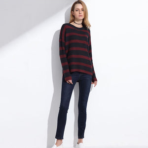 Women's Striped Sweater Outfit Knitted High Low Sweater with Long Sleeves