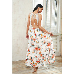 Stunning Backless Maxi Dress White Floral Pattern Long Dress Vintage Bohemian Maxi Dress Open Back Unique