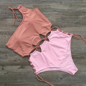 Stunning Strappy One-piece Swimsuit two-tone Pink With Cutouts
