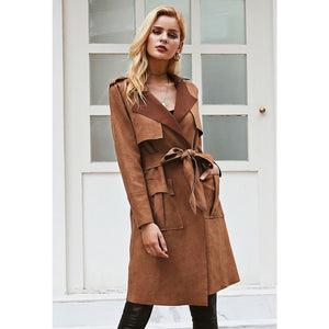 Long Brown Trench Coat Turndown Collar Street Style Outfit
