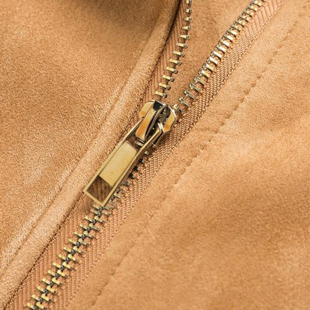 Suede Leather Jacket Girl Zipper Close Up