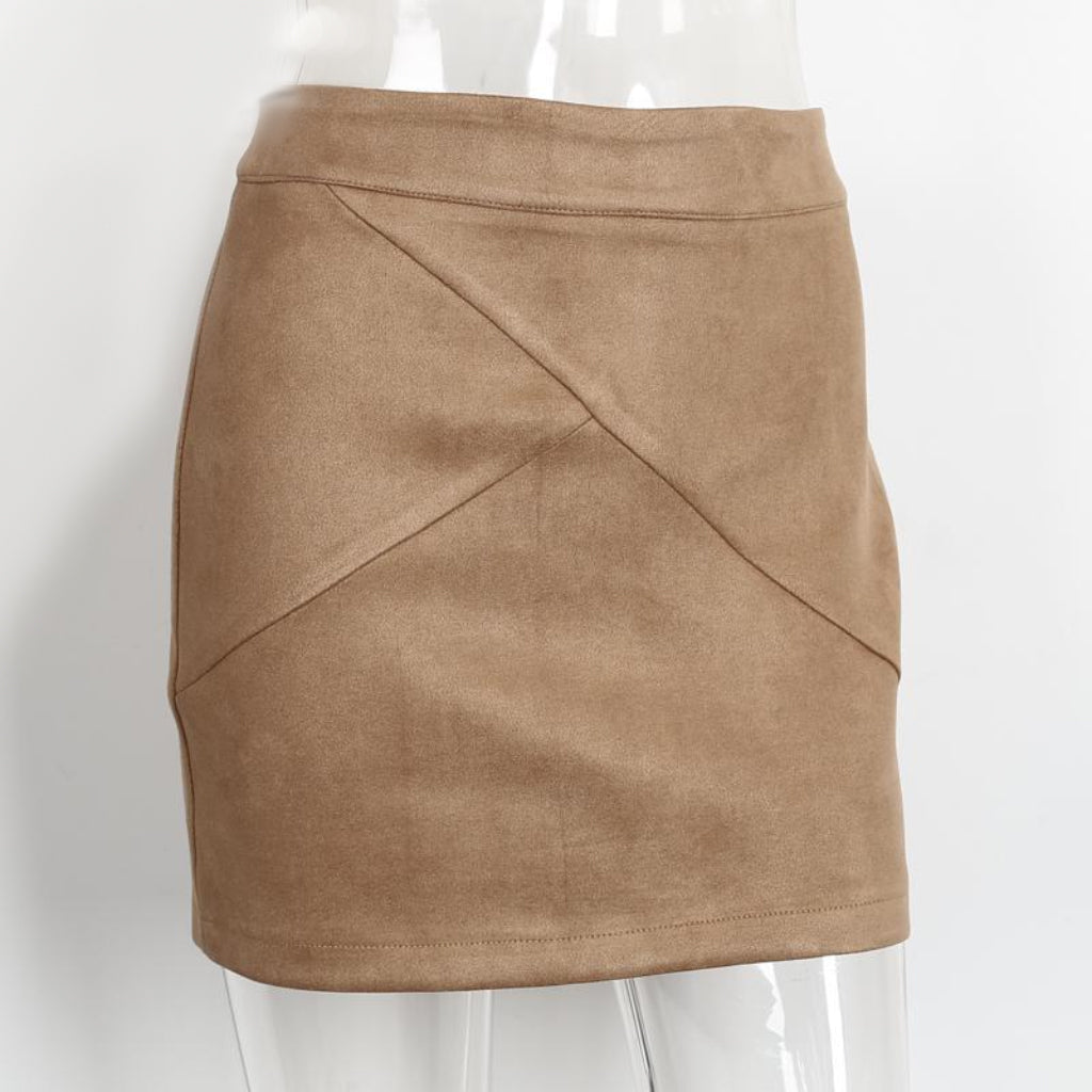 Suede Leather Mini Skirt Pencil High Waist