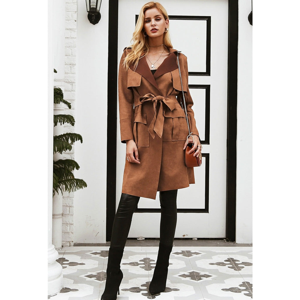 Suede Trench Coat with a Sash Long Street Style Jacket Brown