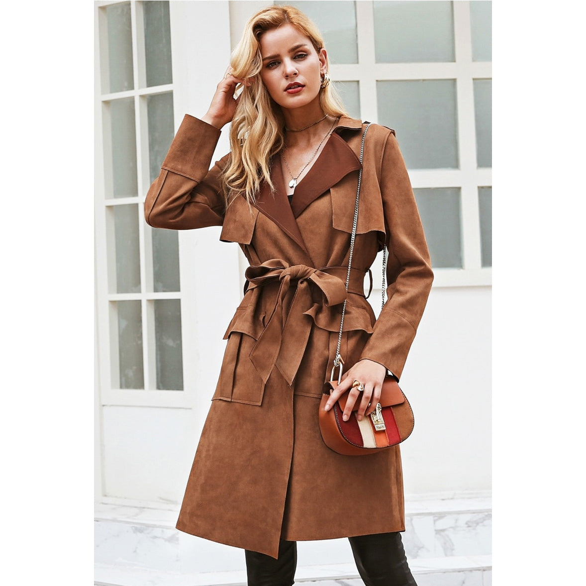Brown Long Trench Coat Street Style Fashion
