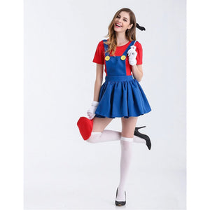 Super Mario Bros Halloween Costume Women's Mario Cosplay Outfit