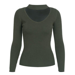 Army Green Choker Sweater Knitted Long Sleeve Pullover Sweater for Women