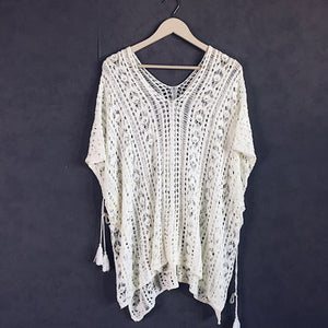 Swimsuit Cover Up White Crochet Cardigan with tassels