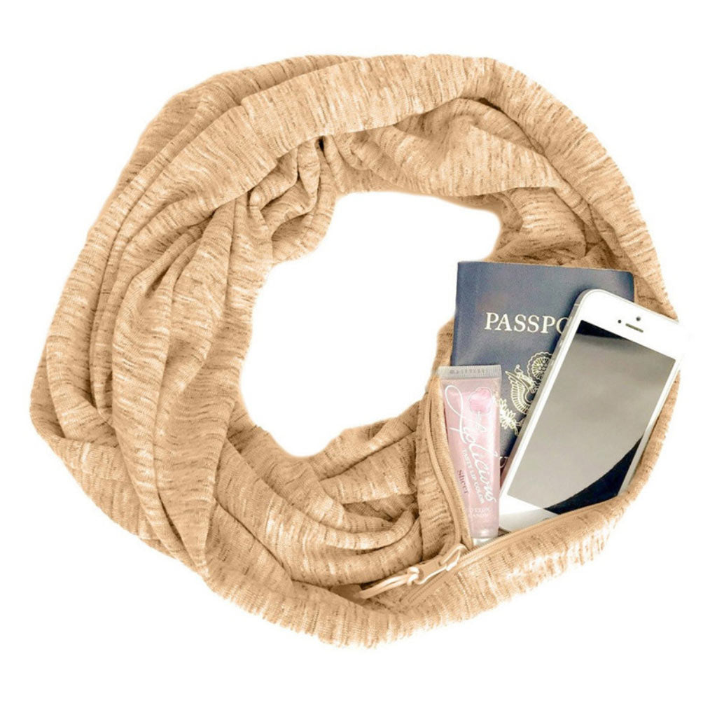 Tan Infinity Loop Scarf Travel Scarf for Women Multi Use Scarf 3 in 1