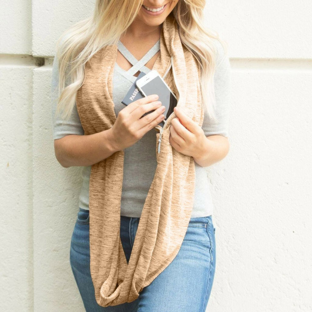 Tan Loop Infinity Scarf with Pocket Women's Travel Scarf Tan