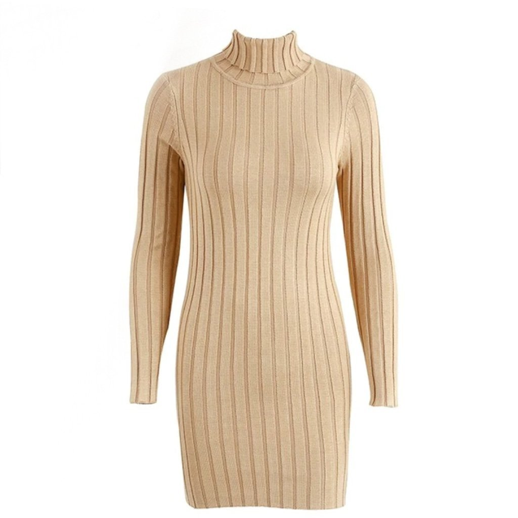Light Tan Turtleneck Sweater Dress