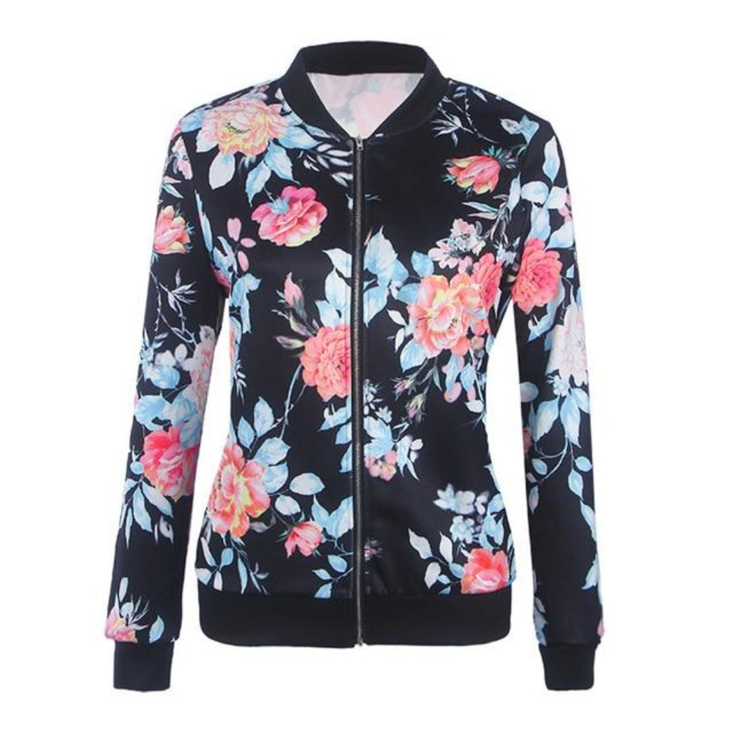 Floral Bomber jacket for women thin and light weight jacket