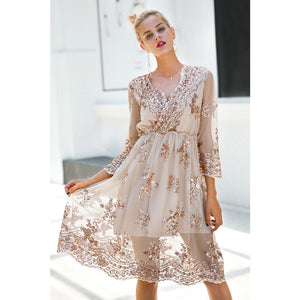 Three Quarter Sleeve Mini Dress Classy Street Style Fashion Mesh Overlay Sequin Dress Modern Sophisticated Dress
