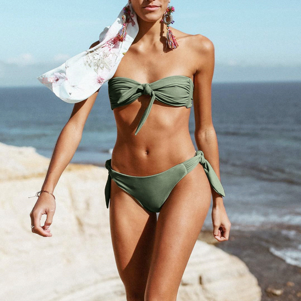 Green Bow Bandeau Bikini Tie Front Swimsuit