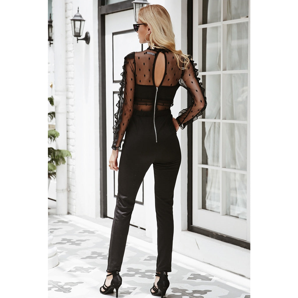 Black Mesh Jumpsuit Long Sleeve