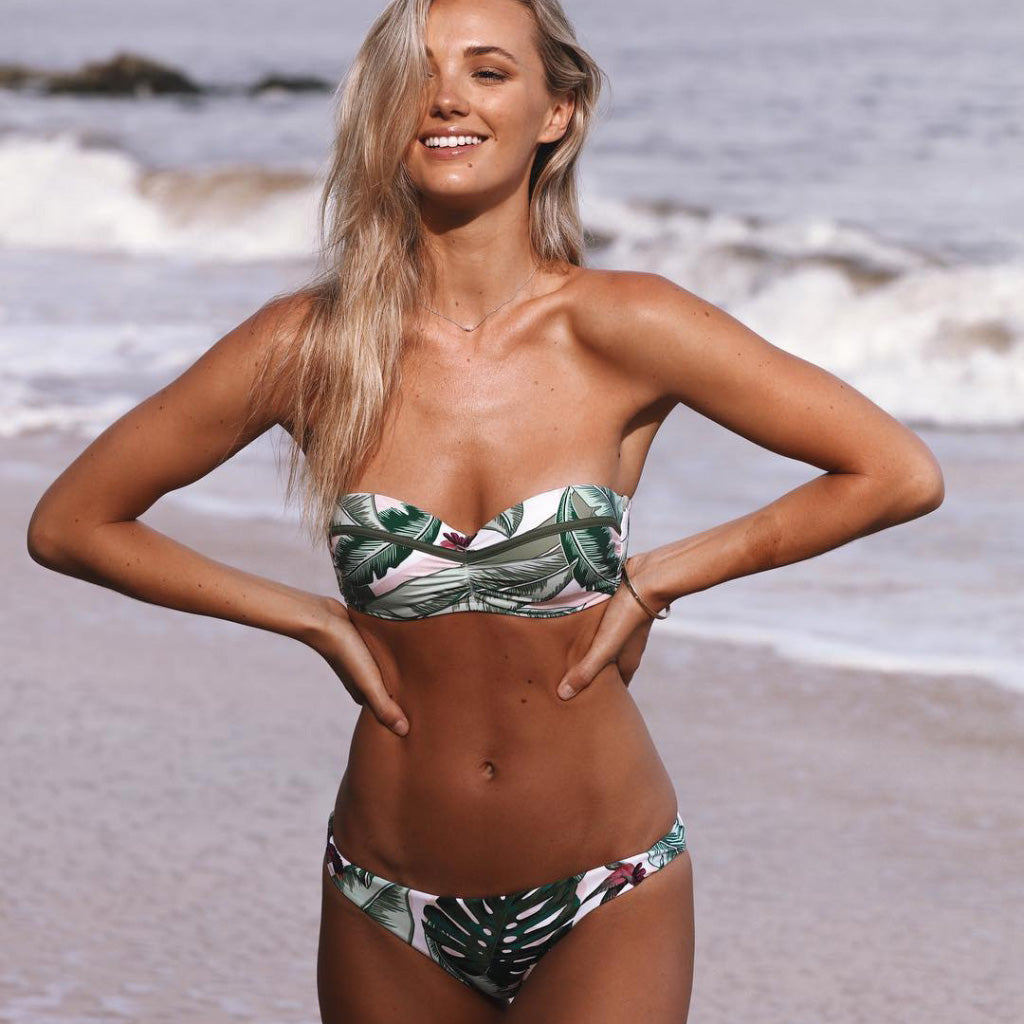 Tropical Kae Swimsuit Push-up Bandeau Bikini Set