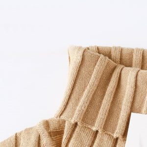 Turtleneck Sweater Dress Outfit Beige