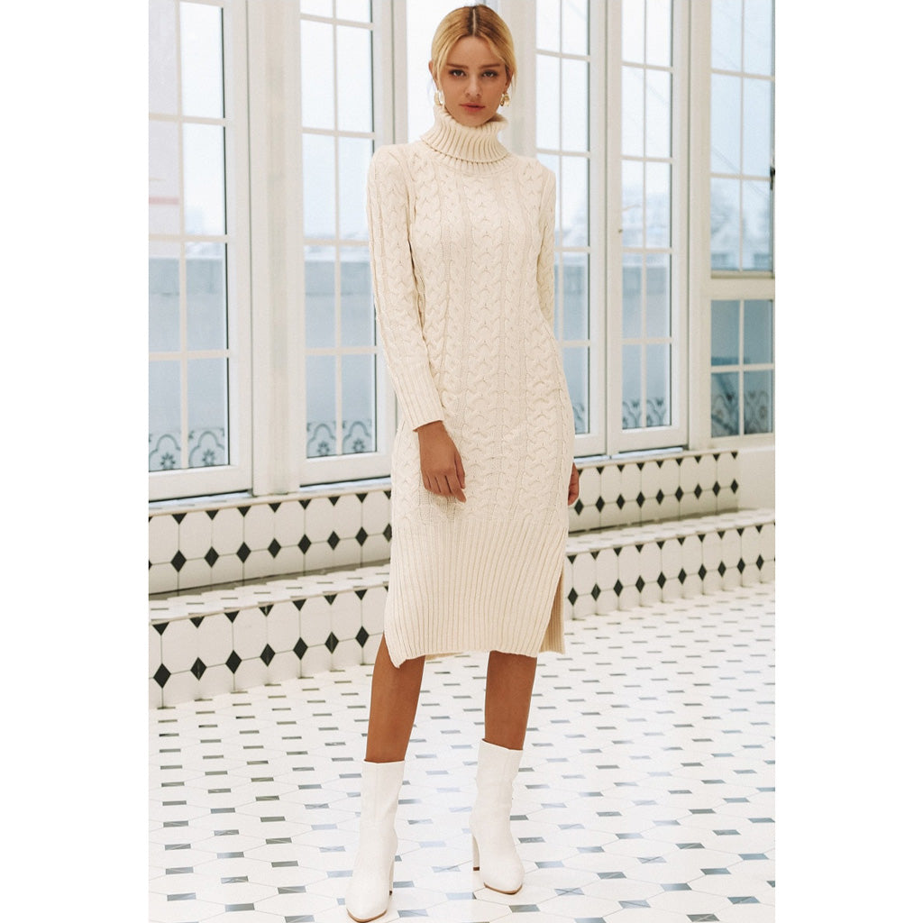 White Turtleneck Long Sleeve Dress for Winter