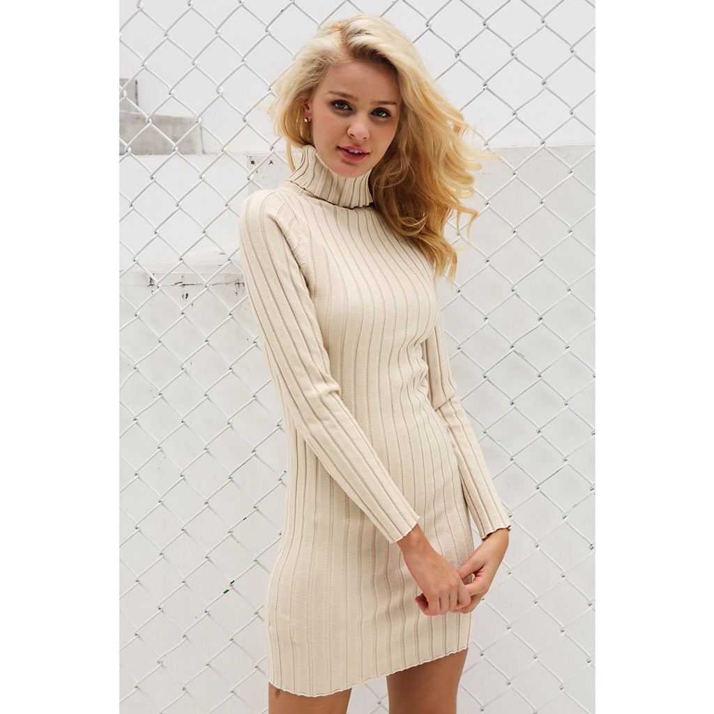 Turtleneck Long Sleeve Sweater Dress Apricot