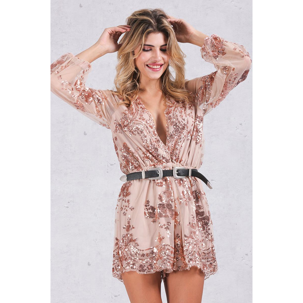 Embroidered Mesh Sleeve | Romper Playsuit