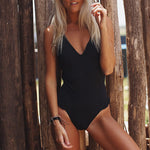 V-neck One-piece Swimsuit Black Cheeky Bottoms Open Back