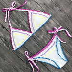 Colorful Triangle Bikini Tie Side Bottoms Halter Top