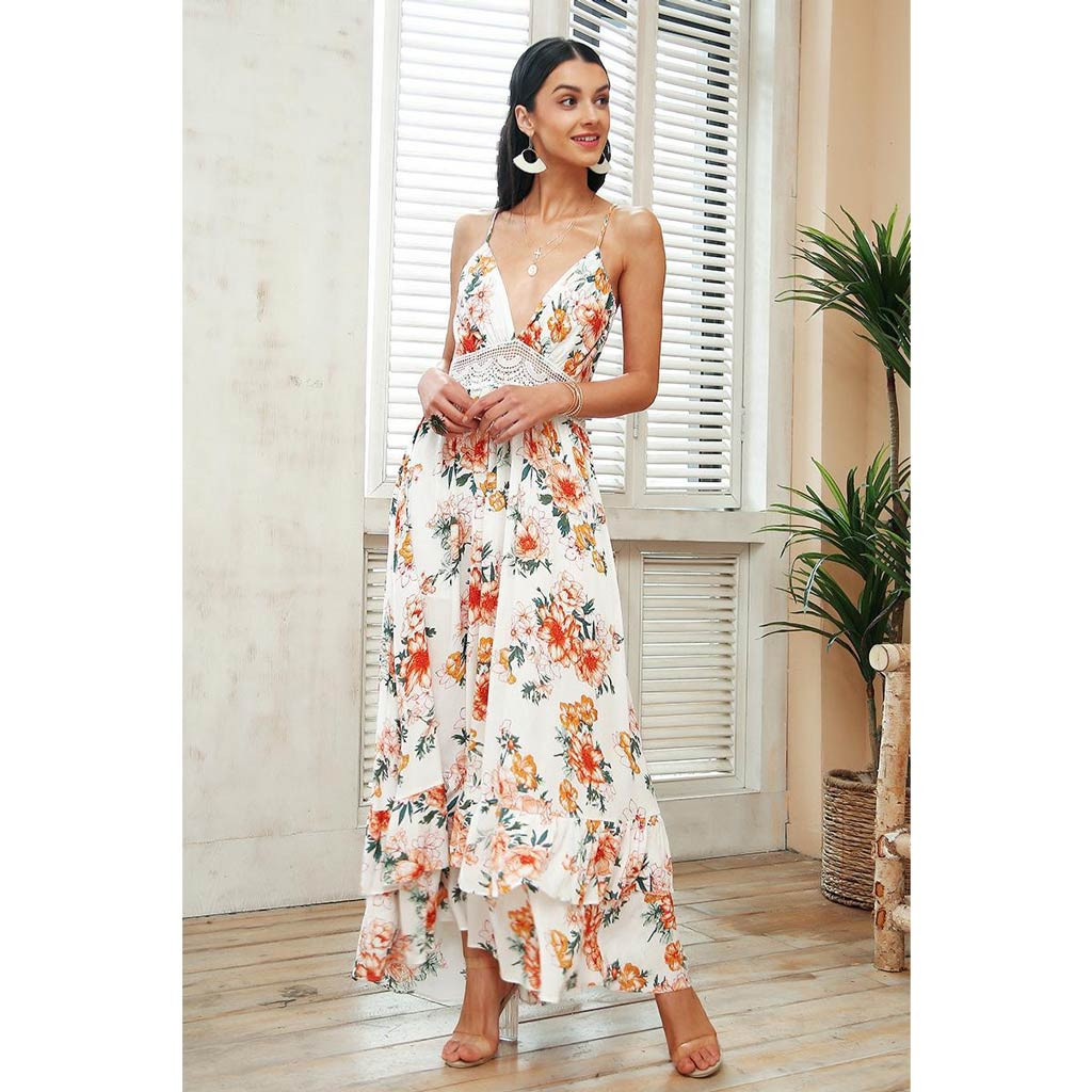 Vintage Style Maxi Dress Open Back Long Dress V-neck Floral Print Flowy Dress