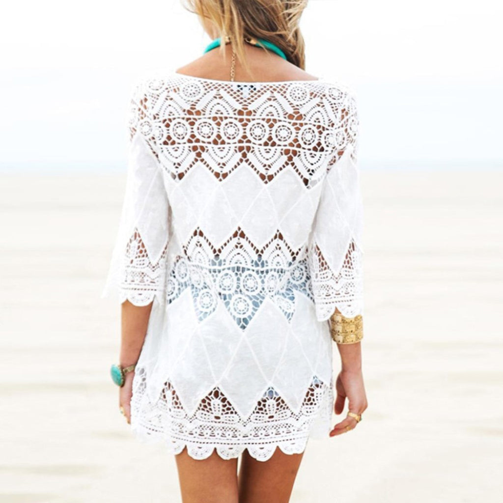 White Bikini Cover Up Tunic Beach Cover