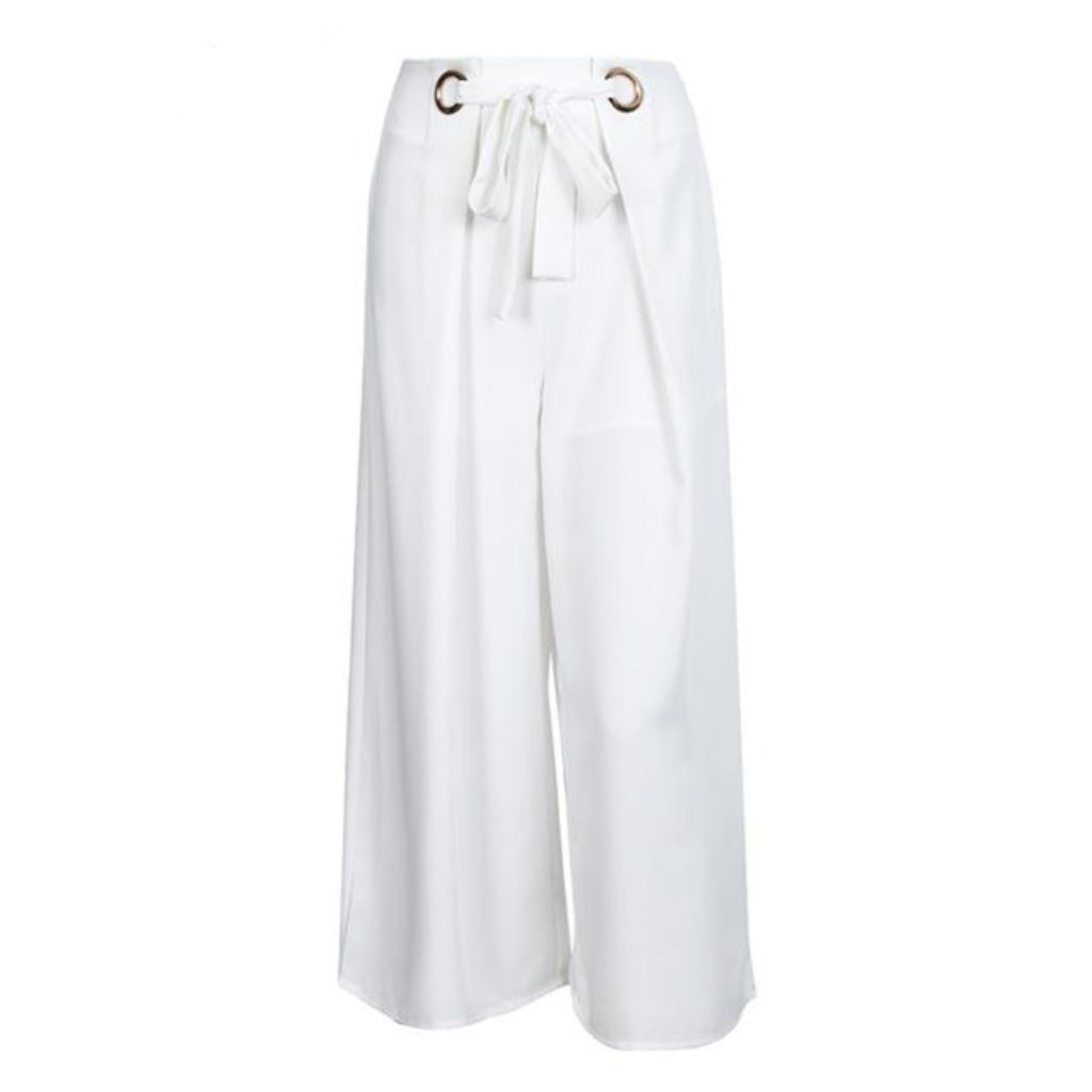 White Capris Wide Leg Pants Street Style Women Sash and Eyelet