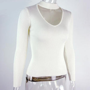 White choker sweater Knit Long Sleeve Pullover for Women