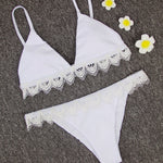 White Triangle Bikini with Crochet Trim Modest Cover Bottom Swimsuit