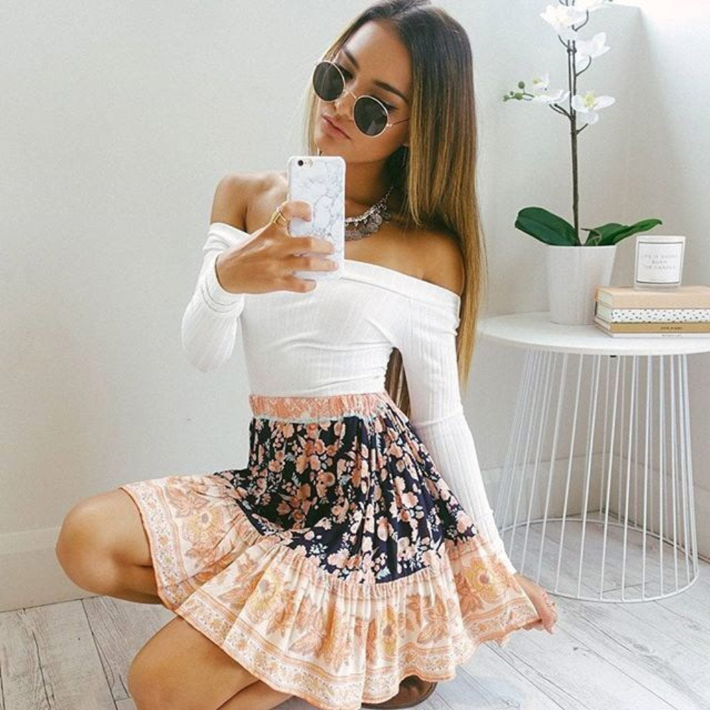 White Off the Shoulder Long Sleeve Crop Top Women's Street Style Fashion Top