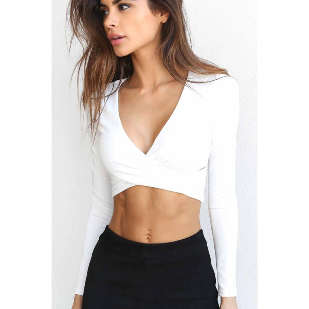 White Cross V-neck Crop Top for Women With long Sleeves Low Cut Front