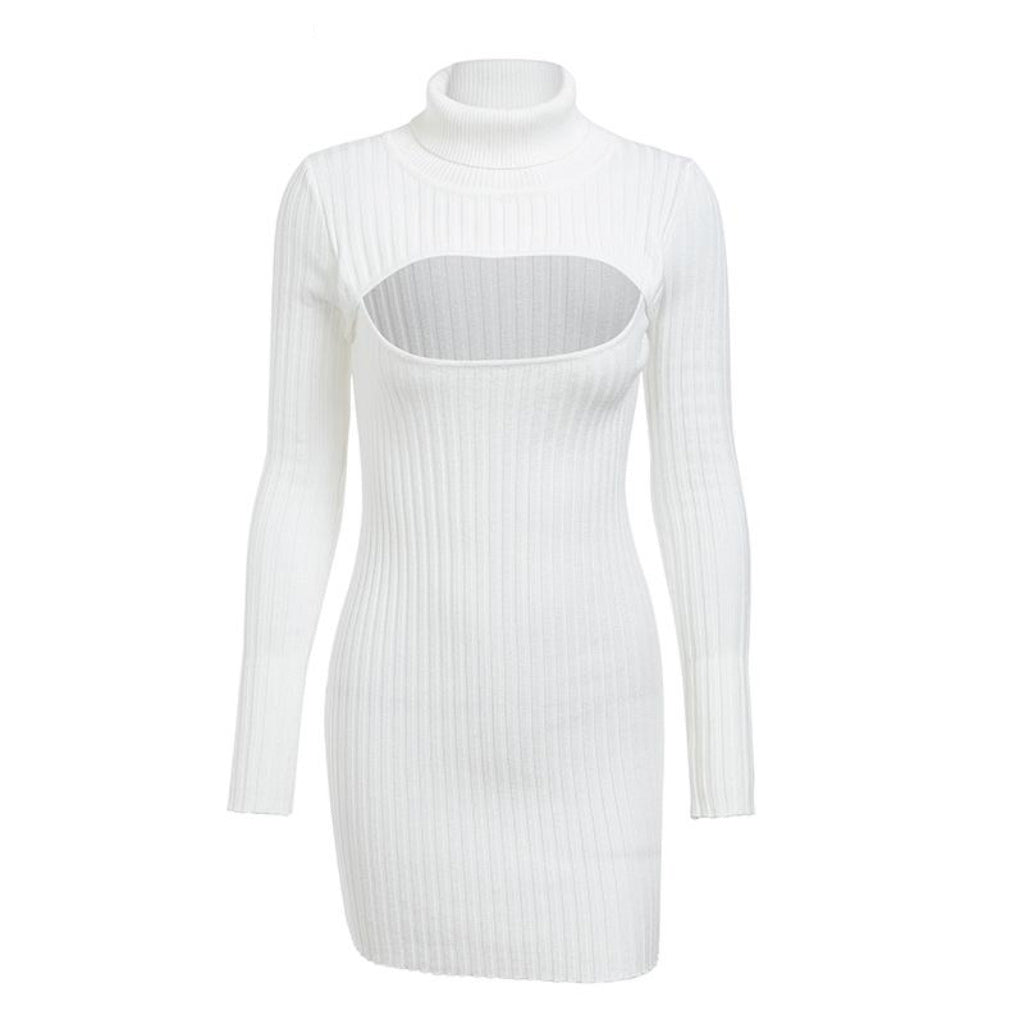 White Hollow Chest Mini Dress Turtleneck Bodycon Dress