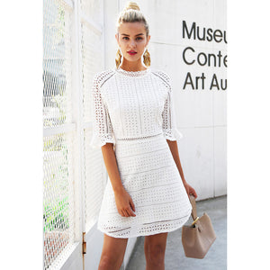 White Half Sleeve Dress Hollow Out Sleeve Mini Dress Bell Half Sleeve Dress