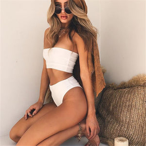 White Bandeau Bikini Brazilian High Waist Swimsuit