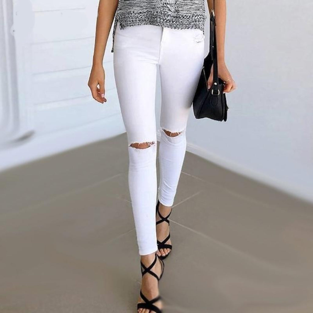 White High Waist Jeans Pants for Women with Ripped Knees