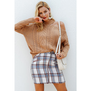 White Plaid High Waist Mini Skirt