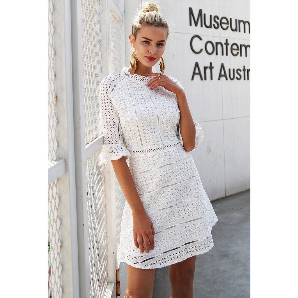 White Hollow Out Dress Mini Dress Empire Waistline White Half Sleeve Dress Bell End Sleeve Mini Dress Street Style Fashion Modern Look Dress