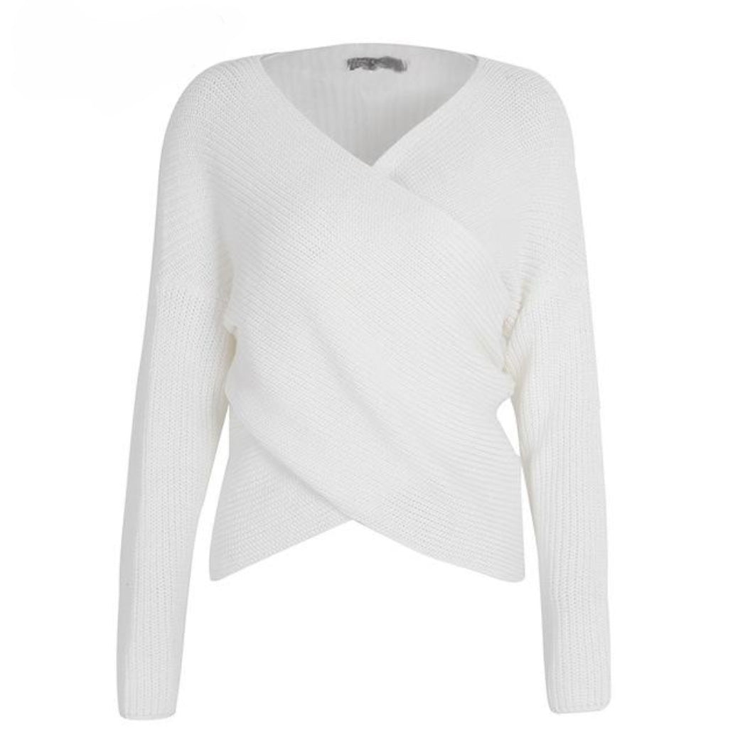 White Knitted Cross V-neck Sweater with Long Sleeves Fall outfit for Women