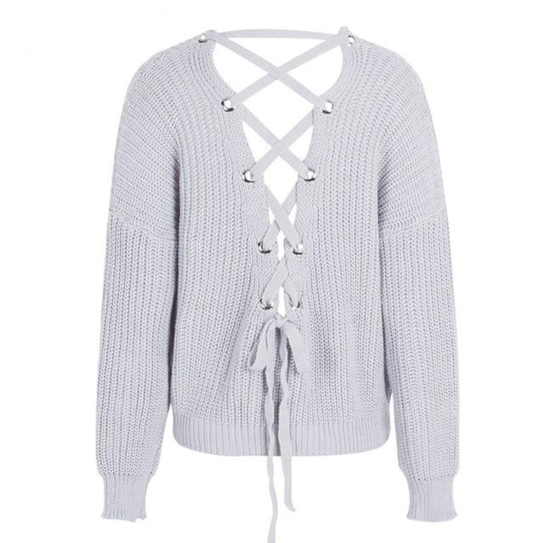White Lace Up Back Sweater With Open back High Low Sweater with Long Sleeves and V-neck