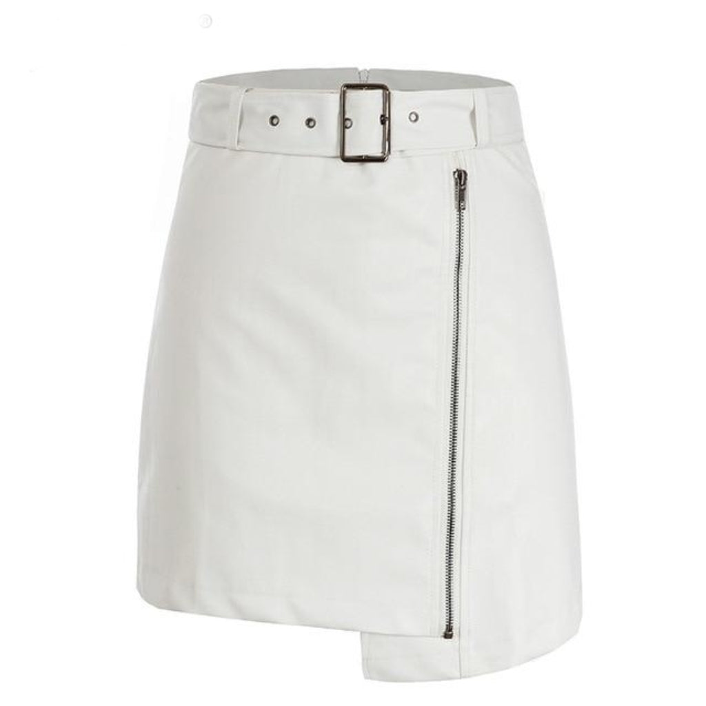 White Leather mini Skirt Faux Leather High Waisted zipper detailing and belt