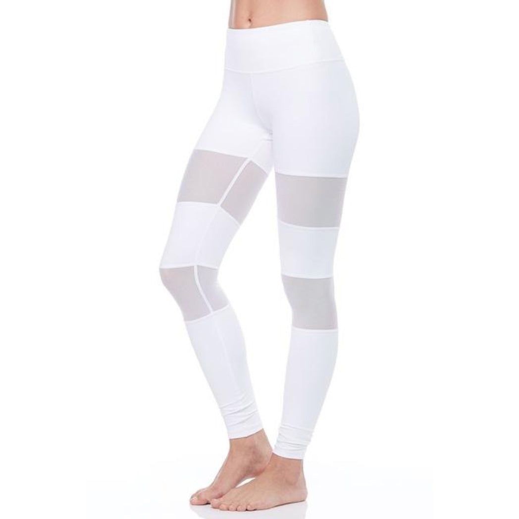 White Leggings Mesh Cutouts Mid Waist Women's Leggings