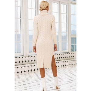 Winter Dress Turtleneck Long Sleeve White