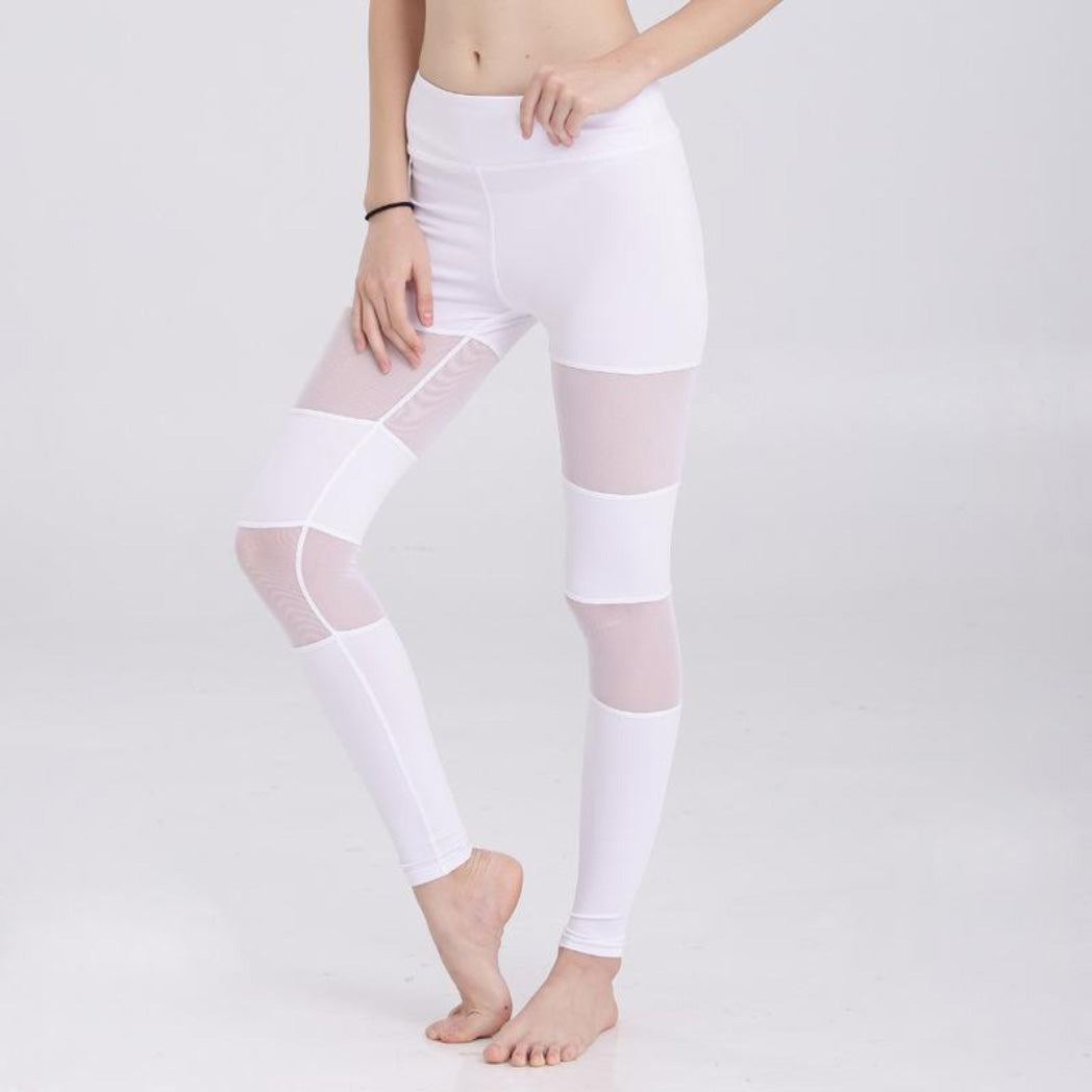 White Mesh Leggings for Women High Waist Yoga Pants