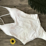 White One-piece Swimsuit Basic Style One-piece Backless Tie Back Bathing Suit