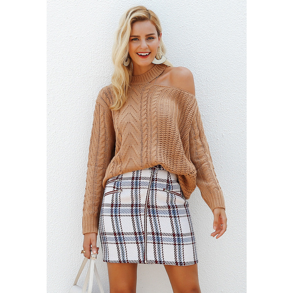 Plaid High Waist Mini Skirt White