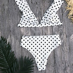 White Polka Dots Bathing Suit High Waist Bikini with Ruffle Shoulder