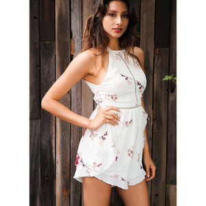 White Romper Playsuit With Floral Pattern and High Neck Breezy