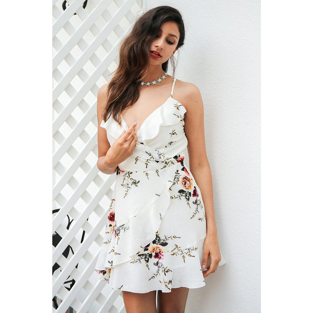 White Ruffle Dress Mini Length Dress Ruffle Top Cute Back Dress Floral Cocktail Party Dress mini Length with ruffles