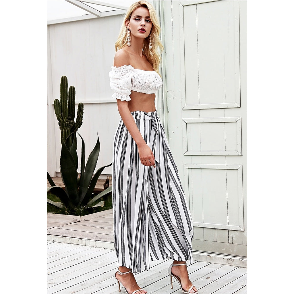 Stripe Sash Split Pants Women White Street Style